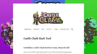 Screenshot of Castleclashhack.net main page