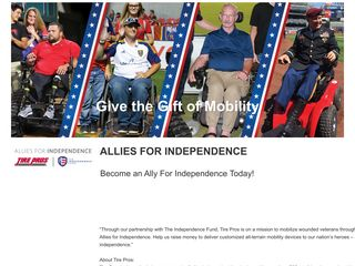 Screenshot of Alliesforindy.org main page