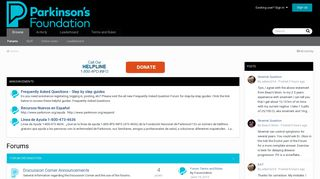 Screenshot of Forum.parkinson.org main page